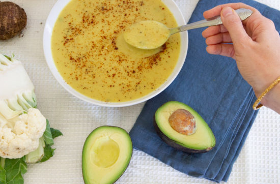 Creamy cauliflower soup with taro