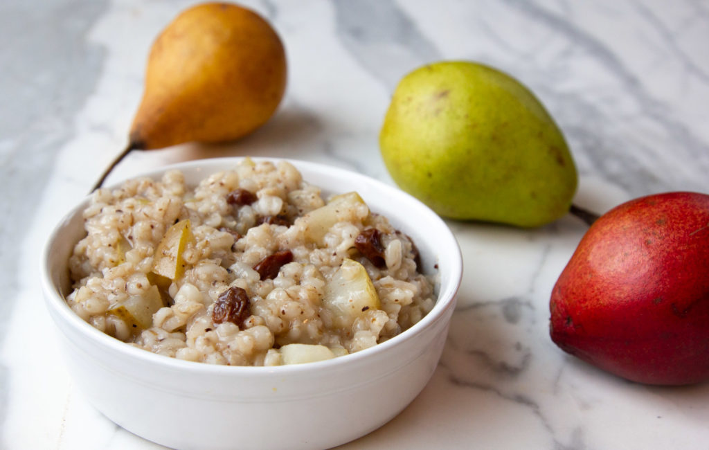 barley cereal with pears