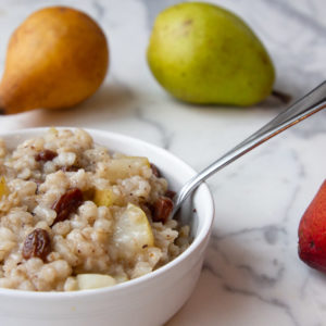 barley cereal with pear