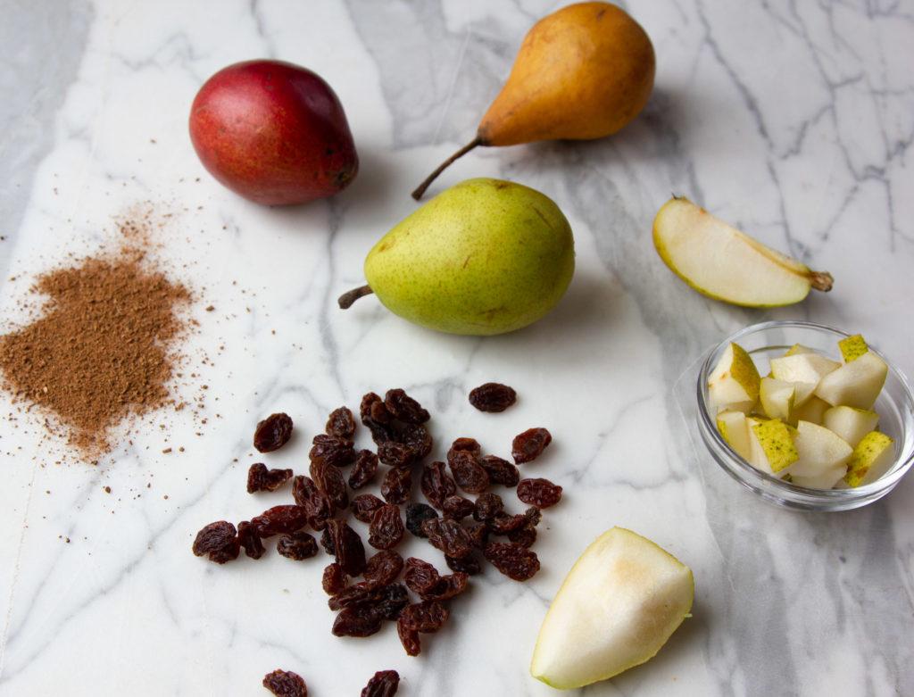 Pears, cinnamon, and raisins
