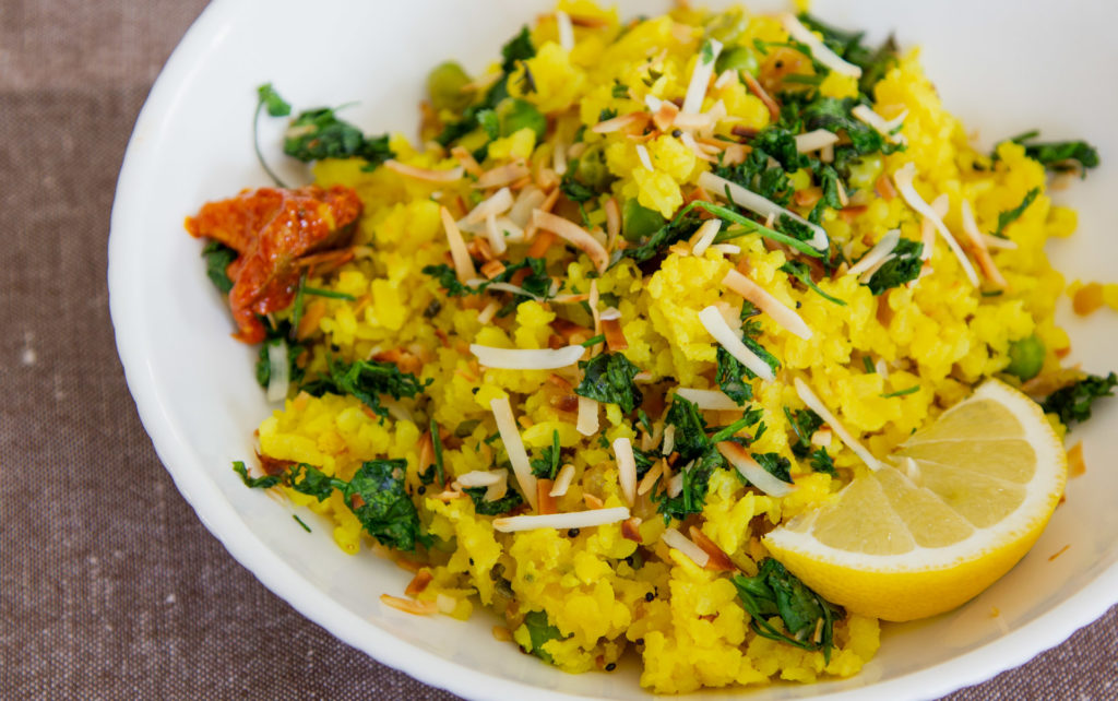 poha with lemon and spices