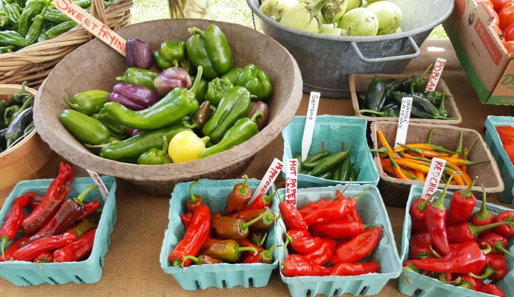 a variety of peppers at the farmers market