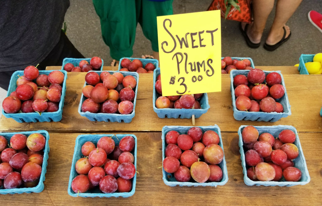 sweet plums at the farmers market