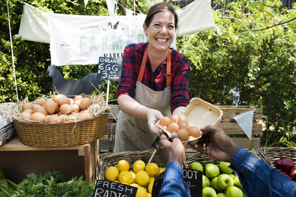 A farmers market purveyor