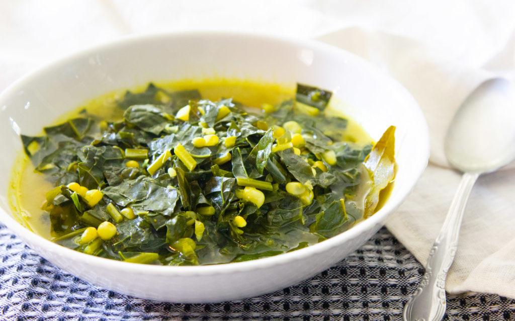 kale soup with corn