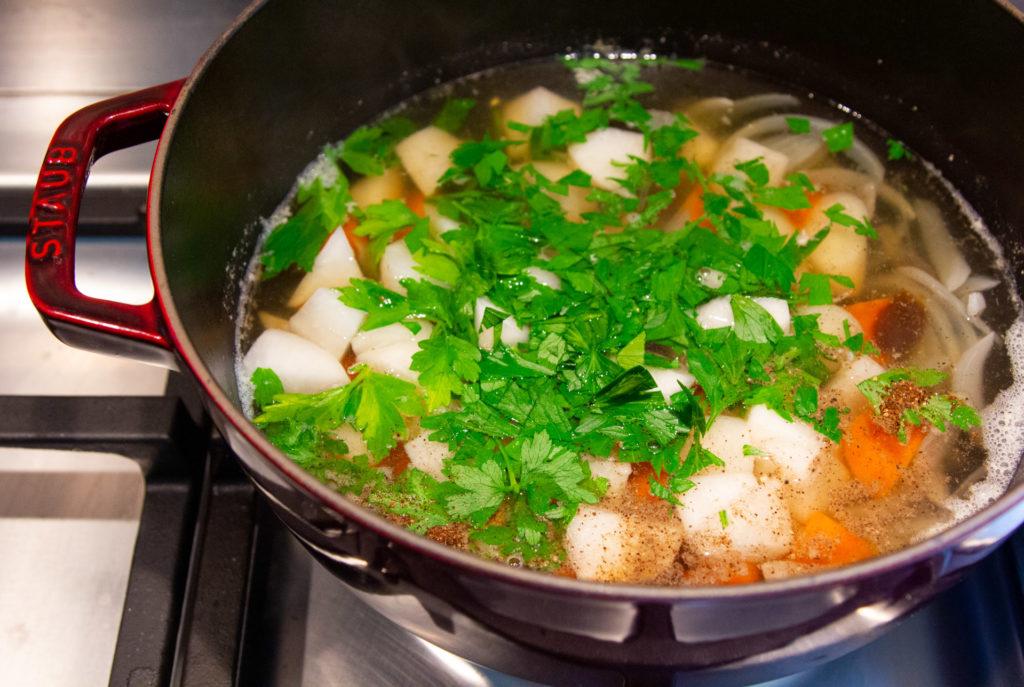 Fresh corn soup in the pot